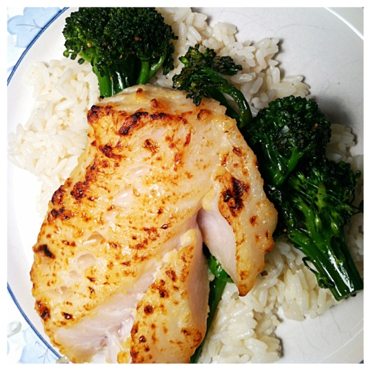 Miso-marinated cod with rice and broccoletti